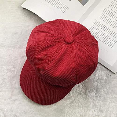 Barett Cap Zeitungsjunge Kappe Frauen Wintermütze Weiblich Achteckige Mütze Maler Hut Baskenmützen Kappen Für Frauen Cord Vintage Baskenmütze Einfach Retro-Rot