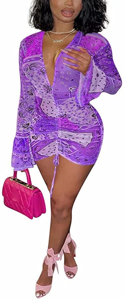 GEMEIQ Women Sexy Sheer Mesh Bodycon Mini Dresses See Through Long Sleeve Printed Ruched Club Wear Party Dress