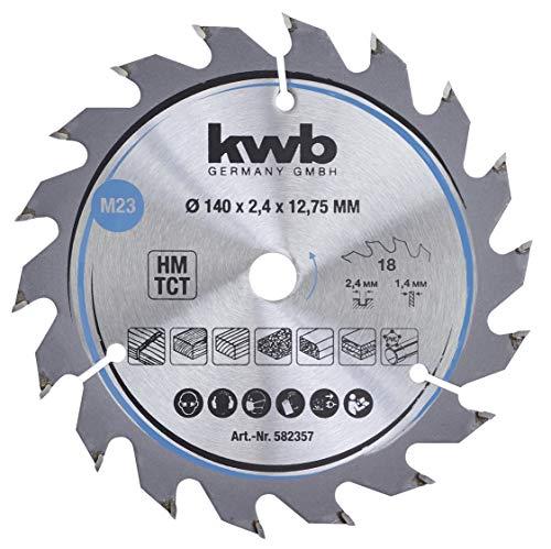 kwb 582357 - Hoja de sierra circular para madera y madera dura, 140 x 12,7 mm, corte limpio, número medio, 18 dientes Z-18, hoja de sierra CleanCut media, 75