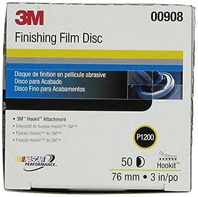 3M Hookit Finishing Film Abrasive Disc 260L, 00908, 3 in, P1200, 50 discs per carton