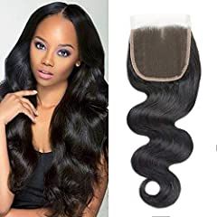 100% Remy human hair top lace closure . all closure make by Hand Brazilian Body closure 4x4 size Free Part, Middle Brown Color Lace (1B#) Natural black color can be dyed and colored by yourself. Fast delivery, All hair is full filled by Amazon. You n...