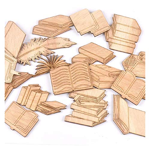 SMchwbc El patrón del Libro Mixta de Madera Scrapbooking de los Artes de Madera 10Pcs Adornos for la decoración de la Boda del cumpleaños Artes decoración del hogar (Color : 1)