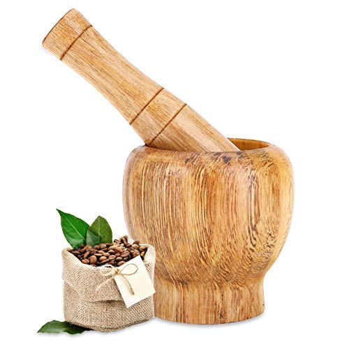 Fdit Wooden Mortar Bamboo Cooking Tools Set for Grinding and Crushing with Pestle