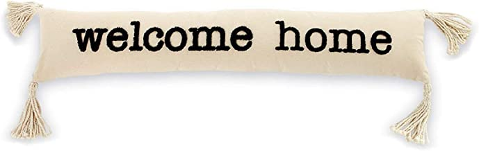 """Mud Pie Welcome Home Skinny Pillow, 7"""" x 35"""", WHITE"""