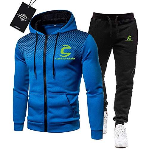 MAUXpIAO Uomini Tracksuit Impostato Jogging Completo da Uomo Cannon-Dale Cappuccio Zip Giacca +. Pantaloni Sport R Palestra/blue/XL