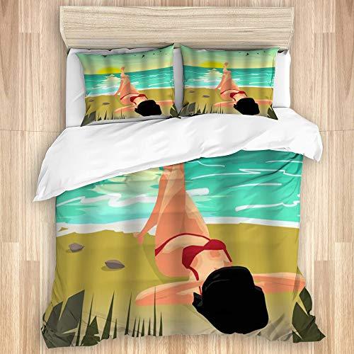 KISSENSU Funda Nórdica Cama,Summer Beach Palms Private Sunset Woman en Bikini Rojo Tomando el Sol,Juego de Fundas de edredón y de Almohada de Microfibra,240 x 260 cm + 2 Fundas 50 x 80 cm