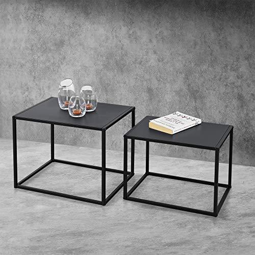 [en.casa] Beistelltisch Set Couchtisch 2er Set Sofatische Kaffeetisch in rechteckiger Form Nachttisch Deko Tisch Metallgestell Industriedesign Schwarz