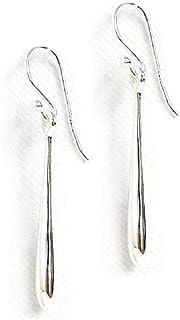 925 Solid Sterling Silver Dangling Teardrop Thread Earrings – Long Dangle Loop Hypoallergenic Jewelry