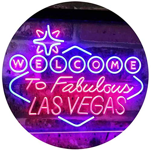 ADV PRO Welcome to Las Vegas Casino Beer Bar Display Dual Color LED Barlicht Neonlicht Lichtwerbung Neon Sign Rot & blau 300 x 210mm st6s32-i3078-rb