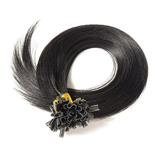 Extension Cheveux Naturel Keratine 1g - Rajout Cheveux Humain Pose à Chaud 50 Mèches (#01 Noir, 60 cm)