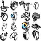 Yaomiao 16 Pieces Vintage Punk Rings Gothic Octopus Dragon Snake Skull Finger Ring Alloy Open Ring Stackable Adjustable Retro Ring for Men Women