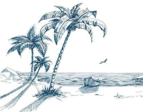 Y·JIANG Pintura por números Sketch Summer Beach Palm Trees Gaviotas y barco DIY lienzo acrílico pintura al óleo por números para adultos niños decoración de la pared del hogar, 40,6 x 50,8 cm