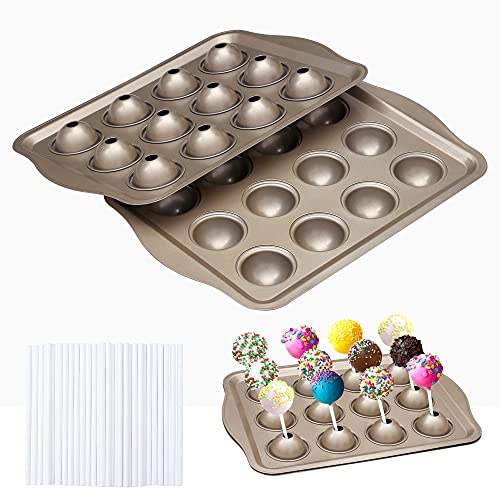 Cake Lollipop Mold, 12 Cavity Carbon Steel Lolly Pop Party Cupcake Baking Pan, Ball Shape Tray for Candy Chocolate Dessert, 50 Sticks Included