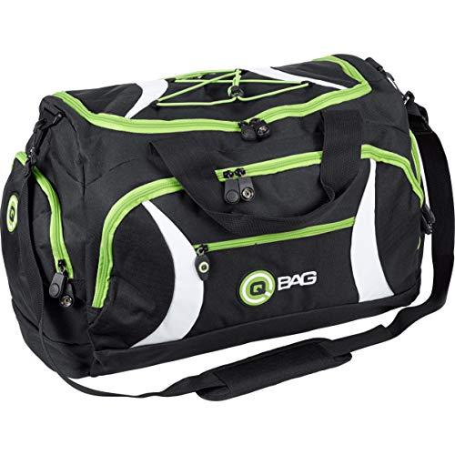 QBag Hecktasche, Sporttasche, handlich, Reisetasche, großes Hauptfach, U-Reißverschluss, Stabiler Tragegriff, Gummifüße, Wasserabweisende Innenbeschichtung, Schwarz/Grün, 40 Liter