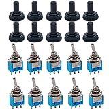 TWTADE/10pcs Azul Mini MTS-102 3-Pin SPDT NO/NO 6A 125VAC 2 Posición Interruptor de Tanggle Miniatura + 10pcs Impermeable Capuchón