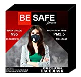 BE SAFE Forever Anti Pollution Face Mask with Activated Carbon- KN95 Filter, PM2.5 Pollutant, Adjustable Nose Clip: for Men/Women