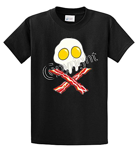 EGGS SKULL BACON CROSSBONES PRINTED TEE SHIRT - BLACK 3XT
