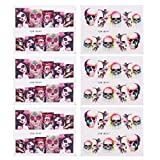 Lurrose 20PCS Halloween Nail Decals Stickers Punk Gothic Rockabilly SUGAR SKULL Nail Wrap Decals Self-adhesive Manicures Stickers for Carnival Halloween Masquerade Parties