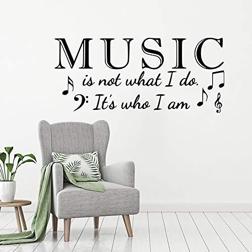 woyaofal Vinyl Wall Music ist, wer ich Bin Zitat Wall Poster Home Decor Musikstil Wandbild Musik Kunst Gestanzte Wandtattoo 95x42 cm