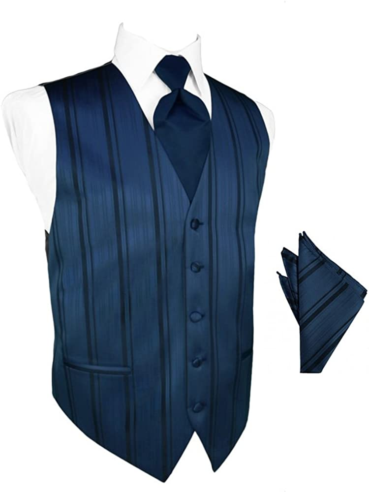 Peacock Striped Satin Tuxedo Vest with Long Tie and Pocket Square Set