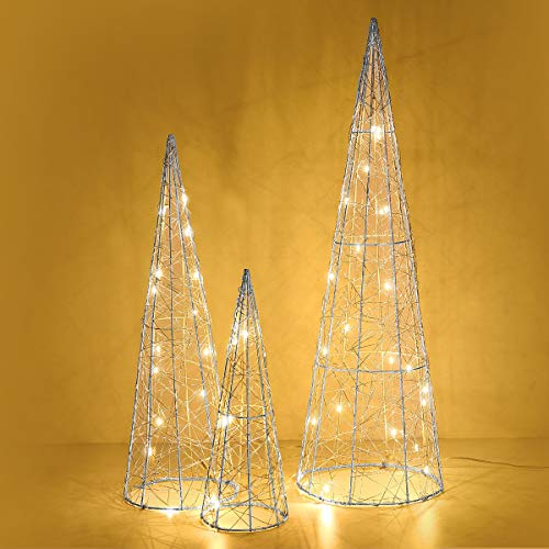 Luxspire Cone Tree Light, Woven Metal Wire Beautiful Bright Waterproof All-Weather Use Battery Powered Home Décor Christmas Tradition Holiday Brilliant Decorative Light with Time Function, Silver