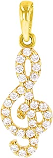 14K Yellow Gold CZ-Studded Dainty Musical Note Charm Pendant