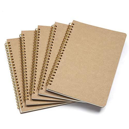 Wodasi Blocco Note A5, Quaderno A5 Bianco, Quaderno Fogli Bianchi, Quaderno a Spirale Rilegatura Schizzi di Carta Kraft Cover, Diario Pagine Bianche 50 Fogli, Sketchbook A5 Spiralati