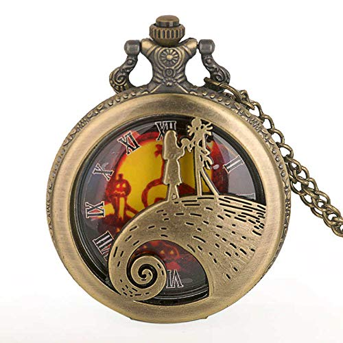 Reloj de Bolsillo, Reloj de Bolsillo de Cuarzo navideño, Hombre, Mujer, Colgante, Collar, Regalo, marrón