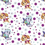 Paw Patrol Pups Flower Power Cotton Fabric by The Yard
