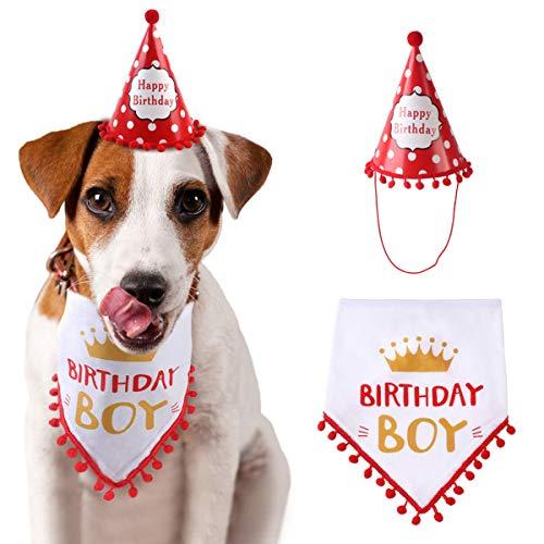 DaMohony - Perro Cumpleaños Sombrero Bandana Triángulo con Letras Happy Birthday Gril Toalla de Saliva Suave para Perrito Mascota Regalo Rojo