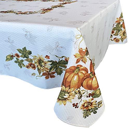 Lintex Stockbridge Pumpkin Harvest Bordered Thanksgiving Tablecloth, Autumn Fall Leaf, Sunflower and Acorn Border Print Easy Care Fabric Tablecloth, 60 Inch x 120 Inch Oblong/Rectangle