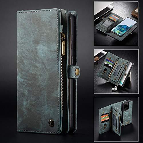 Para el caso Galaxy S20UTTRA, caja de cuero hecha a mano multifuncional de dos en uno con tragamonedas de tarjetas de crédito y cubierta extraíble, bolso premium con cremallera para la caja del teléfo