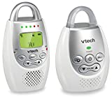 VTech DM221 Audio Baby Monitor with up to 1,000 ft of Range, Vibrating Sound-Alert, Talk Back Intercom & Night Light Loop, White/Silver