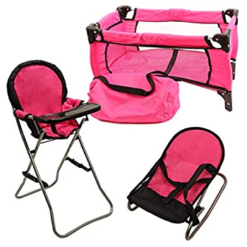 Mommy & Me 3 In 1 Baby Doll Accessories Mega Deluxe Playset with Doll High Chair Doll Bouncer and Doll Pack N Play Baby Doll Crib Fits 18 Inch American Girl Doll Pink