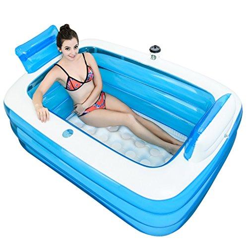 A J S YG Aufblasbare Badewanne Verdickte Erwachsene Wanne Faltwanne (Transparent Blau, 1,5m)