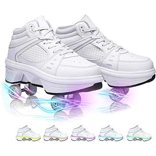 PLAYH Zapatos para Caminar Automáticos Zapatos Invisibles LED Parkour Zapatos para Correr Al Aire Libre con Rueda De Deformación De Doble Fila (Color : B, Size : 34)