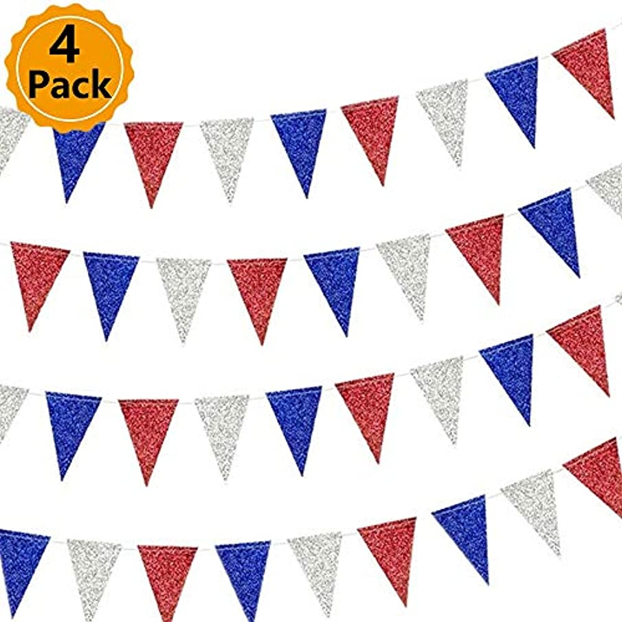 4 Pack July 4th Flash Pink Blue Silver Triangle Flag Party Bar Shopping Center Window Decoration Supplies for American Independence Day