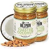 Big Spoon Roasters Toasted Coconut Almond Butter w/ Sea Salt - Keto Friendly, Low Sugar Almond Butter - Crunchy Almond Butter w/ Bee-Friendly Almonds - Gourmet, Vegan Almond Nut Butter - 26 Ounces