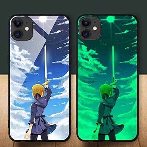 Funda para Teléfono,Estuche para iPhone con Cordón Estuche Protector Resplandor Nocturno Anime 3D Sao Carcasa De Vidrio Templado Borde Suave Antifricción Compatible con iPhone XR
