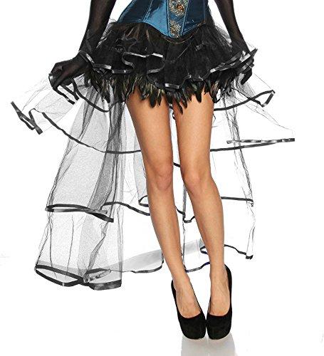 Burlesque Volant Tafft Chiffon Rock transparant met veren voor kort achter lang, zwart,