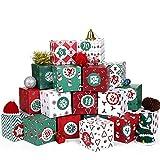 Kesote Calendario de Adviento 24 Cajas de Caramelos Dulces Bombones Cajas Navideñas 7x7x7cm con 24 Pegatinas Números (Rojo y Verde)