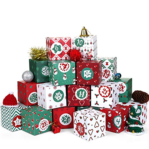 Kesoto DIY Christmas Advent Calendar 2020, 24 Cardboard Treasure Boxes with 1-24 Number Stickers Christmas Countdown Calendar for Xmas Holiday Decor