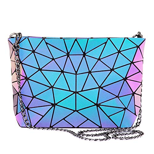 Stylish and cool design, the color changes with the light, let you be full of personality. Popular styles and individuality:It's A Perfect Gift For Girlfriend,Valentine's Day Present. It is a light weight cross body bag with a Chain Strap, a good cho...