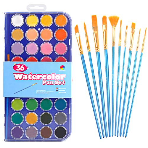 46 Pack Watercolor Paint Set, 36 Colors Watercolor Pan with 10 Brushes Kit, Easy to Blend Colors, Perfect for Kids, Adults and Beginner Artists by Smart Color Art