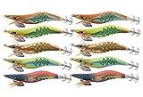 Shaddock Señuelos de Calamar Luminoso Kit Señuelos de Camarón de Madera de Pesca con Gancho de Acero Inoxidable Brillan en la Oscuridad