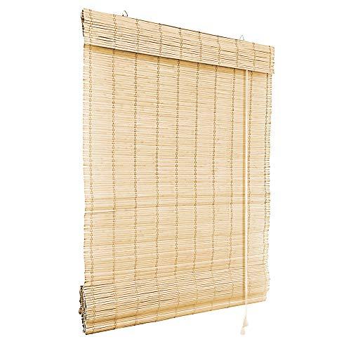 Victoria M. Klemmfix Bambus Raffrollo 60 x 220 cm in Natur, Sichtschutz Rollo ohne Bohren für Fenster und Türen