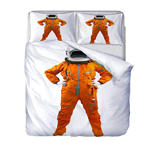 LiYiAT Superking Duvet Covers 3D Printed Ultra Soft Hypoallergenic Easy Care Bedding Quilt Cover Astronaut Microfibre 3 Pieces 2 Pillowcases for Double Bed with Zipper Closure(260X220cm)