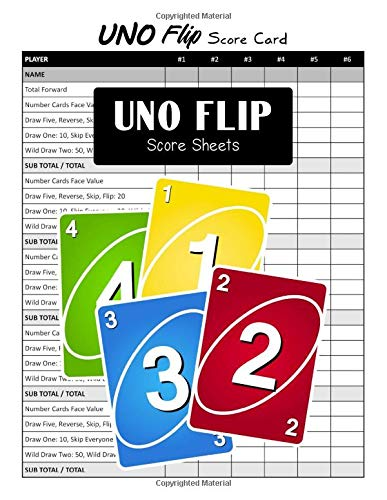 Uno Flip Score Sheets: Uno Flip Personal Handy Sheet for Card Game Score Pad Record Keeper Scorebook (Large 8.5 x 11 Inches)