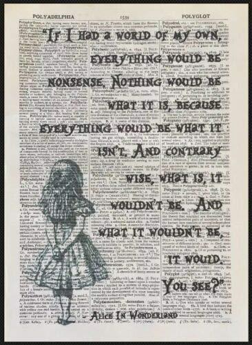 Kunstdruck/Leinwandbild mit englischem Alice-im-Wunderland-Zitat, Vintage-Stil