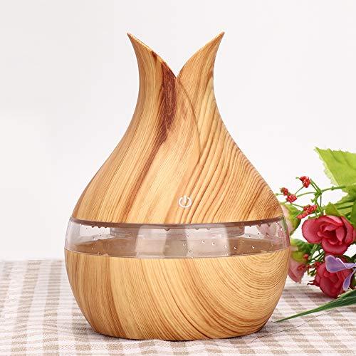 Etherische olieverspreider, 200 ml Wood Grain Ultrasonic Mist-luchtbevochtiger, Diffuser voor etherische oliën, 7 kleuren LED-verlichting Waterloze automatische uitschakeling voor Yoga Spa-slaapkamer